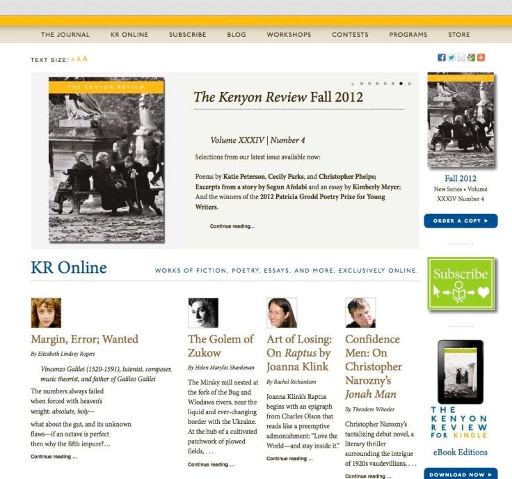 kenyon review, golem copy