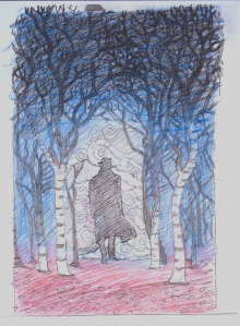 new underpainting sketch, silo in trees 001